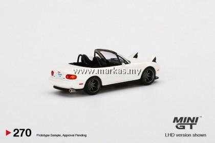 (PO) MINI GT 1/64 #270 MAZDA MIATA MX-5 (NA) TUNED VERSION CLASSIC WHITE TAIWAN / FRED GARAGE EXCLUSIVE