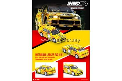 INNO MODELS INNO64 1/64 MITSUBISHI LANCER EVOLUTION III NESTE 1000 LAKES RALLY FINLAND 1995
