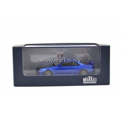 MARK43 1/43 NISSAN SKYLINE GT-R V SPECⅡ (BNR34) CARBON BONNET BAYSIDE BLUE